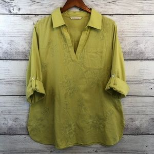 Soft Surroundings Linen Embroidered Popover Top XL